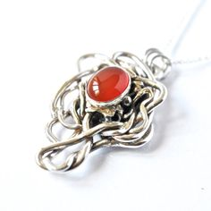 Carnelian Pendant Sterling Silver Artisan Necklace by AlexAirey, $229.00