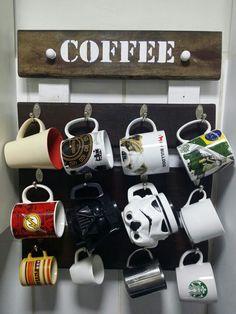 Porta Caneca Coffee Madeira de demolição