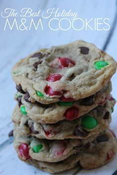 This is our Families FAVORITE M&M Cookie Recipe! Holiday M&M Cookies, I even had a friend serve these at her Wedding because they are That Good! #christmascookies Christmas Cookie Recipes