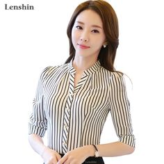 High quality Chiffon shirt women stripe blouse office ladies formal workwear V-neck female tops half sleeve slim blusas Formal Tops For Women, Summer Work Wear, Bluse Outfit, Half Sleeve Shirts, Suit Pattern, Stripped Shirt, Chiffon Shirt, Blouse Styles, Blouses For Women