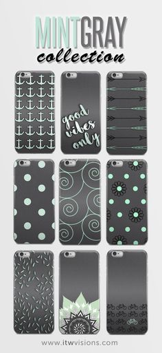 Mint & Gray phone case collection. I am loving these colors and minimalistic designs! Many designs to choose from; anchor pattern, arrows, polka dots, swirls, mandala, bicycles and more. Great gift idea for the holidays.