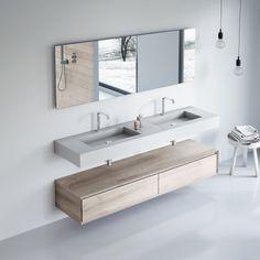 KUBE Countertop by Nuovvo | #minimal #bathroom #design #ideas Minimal Bathroom, Double Vanity, Slate, Countertops, Minimalism, Design Ideas, Shower, Furniture, Shower Trays