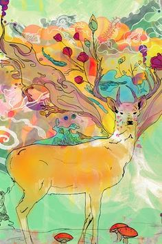Deer, sketch, flowers, pastel