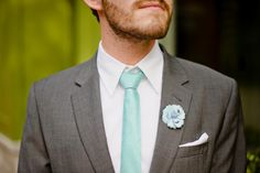 Musical Wedding Ideas aqua tie and boutonniere
