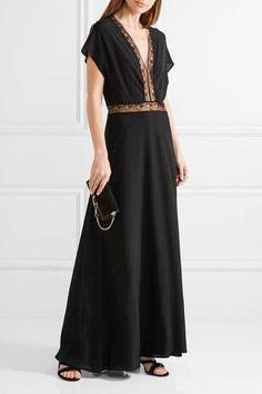 Paul & Joe - Lace-trimmed Silk Crepe De Chine Maxi Dress - Black - FR36
