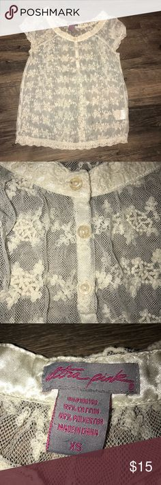 Sheer semi button down top All three buttons are still completely intact not lose whatsoever, scalloped trimming, and in great condition! Tops Blouses