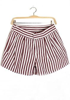 Red Striped Zipper Sewing Short Straight Cotton Pants
