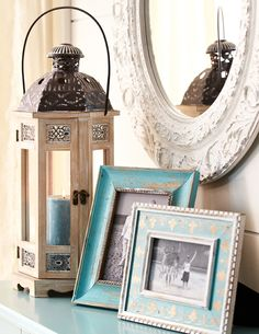 Rustic frames and intricate carvings go perfectly with shabby chic decor