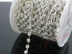 Diamante 2mm Clear Rhinestone Silver Chain 10 Yard | eBay