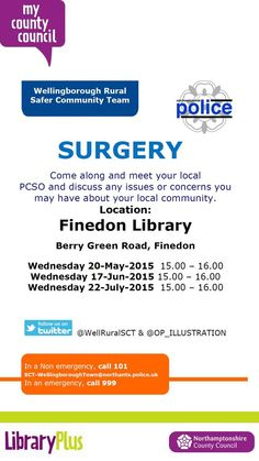 Finedon Library: monthly PCSO surgeries