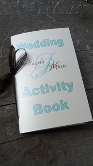 Maybe add onto a little of the book I have? make it customized? Set of 10 Custom Wedding Coloring Activity Books for Childrens Flower Girl Ring Bearer Gift Favors Your Choice of Color  Fonts. $35.00, via Etsy.