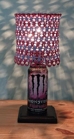 Monster Energy Rehab Tea Pink Lemonade Lamp with Pull Tab Lamp Shade Soda Tab Crafts, Can Tab Crafts, Fun Crafts, Diy And Crafts, Indie Room Decor, Cute Room Decor, Aesthetic Room Decor, Monster Room, Monster Energy Girls