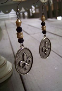 New Orleans Saints .. fleur de lis earrings .. www.lizpcreations.etsy.com