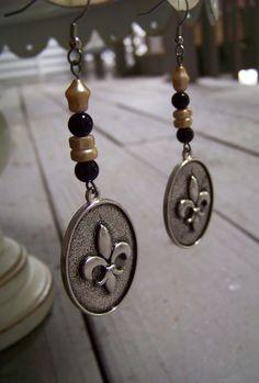 New Orleans Saints .. fleur de lis earrings .. www.lizpcreations.etsy.com
