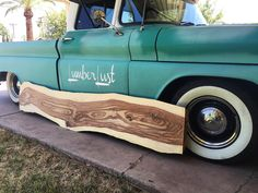 "Our 63 C10 Long bed with an 8ft long live edge slab of Sissoo Indian Rosewood aka ""baconwood"""