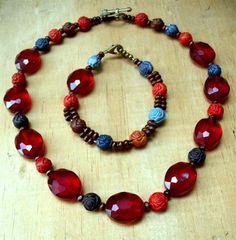 Red Glass Bead Jewelry Set