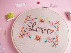 Modern Cross Stitch KIT- LOVE in Floral Frame - www.redbeardesign.etsy.com