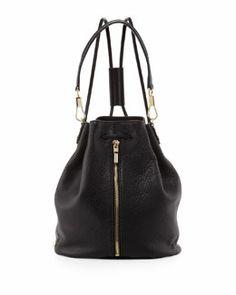 V1U9T Elizabeth and James Cynnie Pebbled Leather Drawstring Backpack, Black  S/S 2014