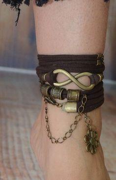 Infinity Bracelet, Infinity Symbol Bracelet, Fabric Wrap Bracelet, Brown Wrap Around Bracelet, Boho Leather Jewelry, Boho Jewelry, Hair Jewelry, Jewelry Ideas, Jewellery, Tribal Bags, Soft Leather Handbags, Infinity Jewelry, Moon Tattoos