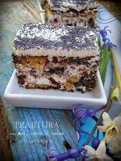Angel's food: Prajitura cu mac, cocos si cacao Bosnian Recipes, Bosnian Food, Raw Chocolate, Coco, Breakfast Recipes, Sweet Treats, Bakery, Food And Drink, Sweets