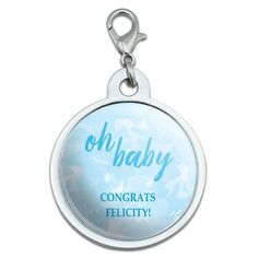 Graphics and More Personalized Custom Oh Baby Blue Shower Announcement Chrome Plated Metal Small Pet ID Dog Cat Tag -- You can find more details by visiting the image link. (This is an affiliate link and I receive a commission for the sales)