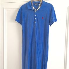 Classic RALPH LAUREN POLO DRESS  Classic Polo Dress by Ralph Lauren. French Blue color with Pink pony insignia. 100% Cotton. In fine gently worn condition. Classic comfortable dress for many occasions, travel, weekends. Size XL. Ralph Lauren Dresses