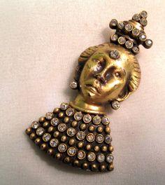 Early Monet Rhinestone Lady Fur Clip Gold Tone #Monet