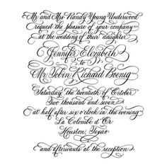 Wedding invitation designed in hand calligraphy - highly flourished Copperplate script style