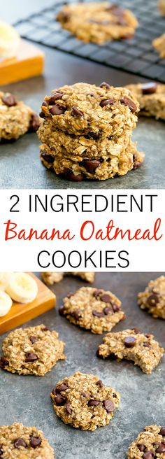 2 Ingredient Banana Oatmeal Cookies. Flourless, refined sugar free, these cookies are great for breakfast and easy to make.