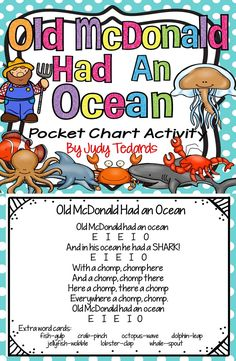 """Old McDonald Had An Ocean is a great pocket chart activity and song to add to your ocean and sea life unit of study. The song is sung to the tune of """"Old McDonald Had a Farm."""" I have included everything you will need for your pocket chart. Just print and Songs For Toddlers, Lesson Plans For Toddlers, Kids Songs, Ocean Lesson Plans, Preschool Poems, Transition Songs, Sea Activities, Ocean Unit, Under The Sea Theme"""