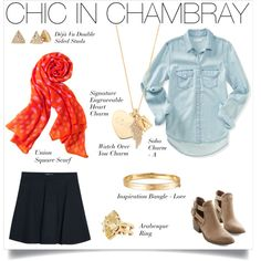 Complete your winter to spring Chic In Chambray look with Stella & Dot scarves & jewels
