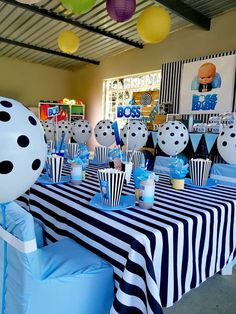 Little Rynoceris 's Birthday / Boss Baby - Photo Gallery at Catch My Party Boys First Birthday Party Ideas, Boss Birthday, Baby Boy 1st Birthday Party, Baby Party, Baby Shower Decorations For Boys, Boy Baby Shower Themes, Creation Deco, Boss Baby, Creations