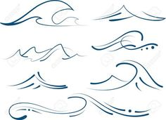 Vector Set Of Different Simple Stylized Pinstripe Ocean Waves Royalty .Set Of Different Simple Stylized Pinstripe Ocean Waves Royalty . Cute Tattoos, Body Art Tattoos, Small Tattoos, Tatoos, Small Beach Tattoo, Mini Tattoos, Ocean Wave Tattoo, Simple Wave Tattoo, Wave Tattoo Foot