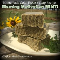This is a very easy recipe for a good homemade cold process soap. Morning-Motivation Mint Cold-Process Soap - Refreshing! #TaylorMadeHomestead
