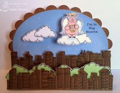 SKYLINE-0433, the ANGEL PIG-1902 the CLOUD-3407 and the HOG HEAVEN-1902 rubber images by Jane Elizabeth France