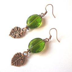 Faceted peridot glass and copper leaves | HopesandDreamsStudio - Jewelry on ArtFire