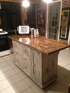 Kitchen Island made from an old dresser.  Contact lukromdesign@gmail.com for custom orders in special sizes and colors.