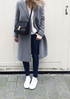 Filippa K coat, Céline box bag & stan smith sneaker. Via Mija