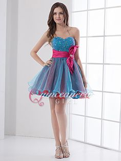 Colorful Puffy Beaded Sweetheart Organza Short Quinceanera Dress - US$ 89.99 - Style Q0231 - Quinceanera Girl
