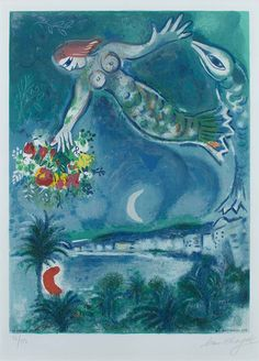 Chagall Hand Signed Color Lithograph | Sirene & Fish, 1957
