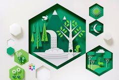 layered paper art - love the hexagons!