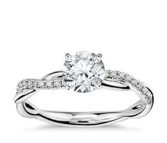 Petite Twist Diamond Engagement Ring in 14k White Gold (1/10 ct. tw.)