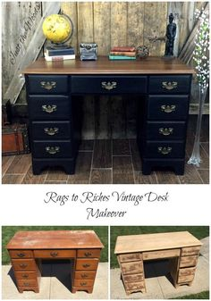 Vintage Desk Makeover - a Rags to Riches Story by Just the Woods Vintage Desk Makeover, A rags to riches vintage desk makeover. When looking for DIY desk makeover ideas, why not stay simple with black painted furniture Desk Makeover, Furniture Makeover, Furniture Projects, Diy Furniture, Vintage Furniture, Coaster Furniture, Furniture Cleaning, Furniture Movers, Furniture Online