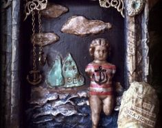 Lost by the Sea Altered Art Shadow Box Wall Hanging