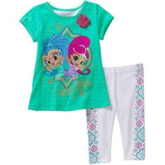 Shimmer and Shine--With NAME--4th Birthday Dress shirt 2pc turquoise Tutu outfit
