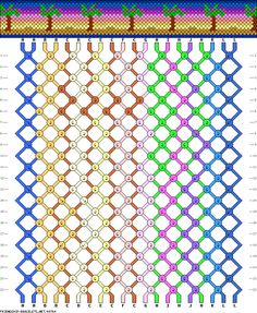 Palm trees and sunset friendship bracelet pattern, 20 Strings 12 Colours