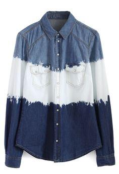 Dip Dyed Denim Shirt Denim Button Up, Button Up Shirts, Denim Shirts, Led Dress, Fashion Brand, Women's Fashion, Fashion Ideas, Blue Denim, Denim Top