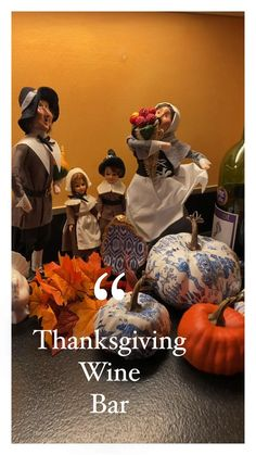 Create a special Thanksgiving vignette. I added my vintage Thanksgiving dolls, pumpkins, a blue and white oyster shell dish, and will use the fleur de lis marble wine bottle stopper. Wine Bottle Stoppers, Wine Bottle Crafts, Custom Wine Bottles, Vintage Thanksgiving, Thanksgiving Centerpieces, Thing 1, Italian Marble, Black Gift Boxes, Great Birthday Gifts