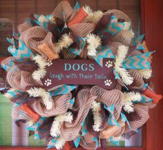 Dog Lovers Burlap Wreath  Deco Mesh Wreath  by MemphisMomWreaths, $65.00
