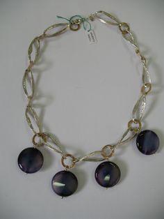 Collana con maglia ritorta in argento 925 e bronzo con pendenti in agata striata viola Twisted Necklace 925 silver and bronze  with striped purple agate pendants